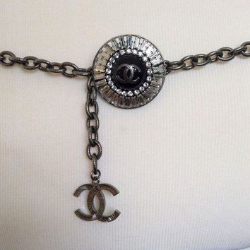 DCCK8TS Authentic Chanel Gunmetal Silver Tone Chain Belt Crystal Baguette Charm
