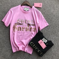 """Gucci"" Unisex Casual Fashion Personality Sequin Letter Embroidery Short Sleeve Couple T-shirt Top Tee"
