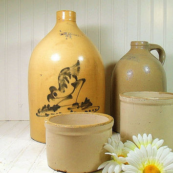 Vintage StoneWare Jug - F.T. Wright & Son Taunton Mass Salt Glaze - Grey Glaze with Blue Stain Perfect Condition