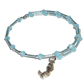 Mermaid Ocean Blue Glass Beaded Artisan Crafted Stackables Wrap Bracelet (S-M)