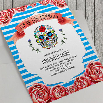 Printable Dia De Los Muertos Halloween Party Invitation, 5x7 In, Day of the Dead, Sugar Skull, Mexican Culture, Birthday Party Option