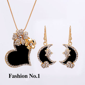 Heart Women Jewelry Set Flower Gold Plated Austrian Crystal Jewelry Sets Necklace Star Earrings Free Shipping