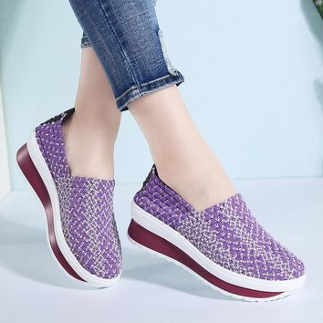 35-40 Slimming Woven Wedges 5CM Heels Women Sports Shoes Handmade Girls Breathable Lady Summer Fitness Shoe Walking Sneakers