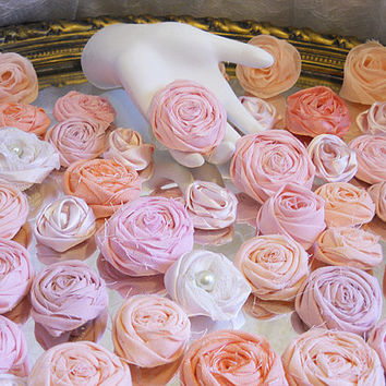 SALE, Lot of 70 Small Pink, Peach, Orange, Salmon, Coral Roses handmade flowers of cotton, satin and silk. Ready to Ship!