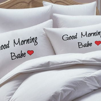 Pillowcases, his hers pillowcase set, Good  Morning Babe, Pillowcase set, pillowcase, bride, groom, pillowcases, wedding gift