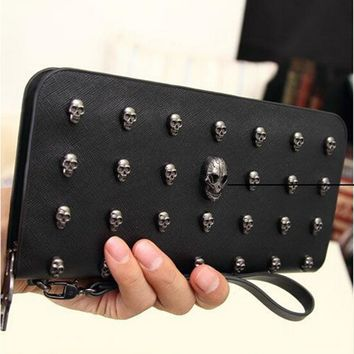New Fashion Brand Wallet Women Designer Wallets Leather Men Wallet Punk Skull Bag Clutch Purses Card Holders carteira feminina