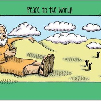 12 'Peace to the World' Hilarious Boxed Greeting Cards, Merry Xmas Note Cards for Holidays, Gifts, Funny Religious Humor, Notecard Stationery w/Envelopes, Greeting Cards