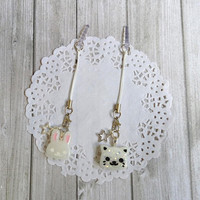 Cat/Bunny dust plug phone strap