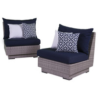 RST Brands Cannes Modular Armless Chair with Cushion (Set of 2)