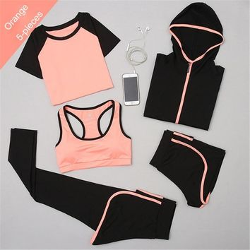 XC LOHAS Yoga Set Women's Gym Clothing Elastic Fitness Running Tights Sportswear Quick Dry Workout Sports Jogging Suits 5pcs/Set