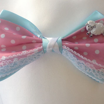 Little Bo Peep Toy Story Sheep Girl Polka Dot Pink Bow by Design Bowqtique