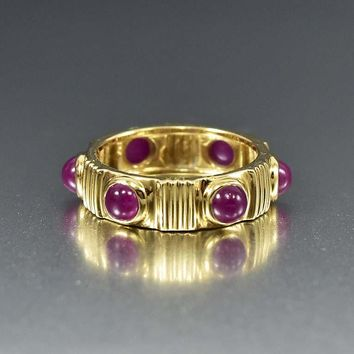 Vintage 14K Gold Ruby Eternity Band Ring