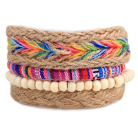 Fashion Bracelet Unisex  Colorful Rainbow Hemp Rope Beads Multi Woven Bracelet