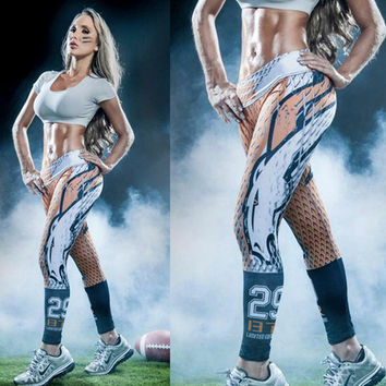 2016 New GYM American football theme 3D Leggings Yoga fitness pant