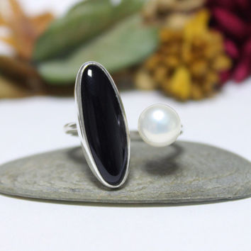 Dual Onyx And Pearl Open Ring/ Black & White Open Ring/ Cocktail Ring/ Handmade Sterling Silver Ring