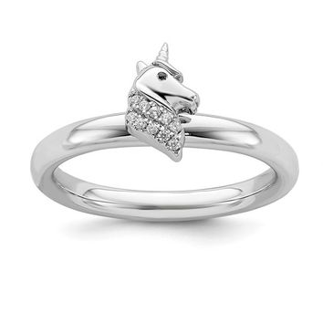 Sterling Silver Stackable Expressions Unicorn Diamond Ring
