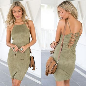 Fashion  Back Hollow Crisscross Bandage Strap Sleeveless Pack-hip Mini Dress