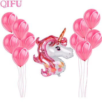 QIFU Unicorn Party Balloon Happy Birthday Party Decorations Kids Foil Latex Ballon Air Helium Unicornio Decor Wedding Supplies