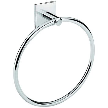 Square Self-Adhesive Towel Ring Holder Bathroom Hand Towel Holder, Brass Chrome