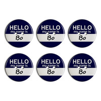 Bo Hello My Name Is Plastic Resin Button Set of 6