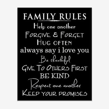 Wall Art - Family Rules - Typography - 8 x 10 print in black and white or vintage paper background
