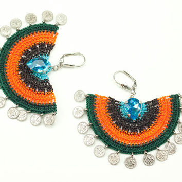 Rainbow Crochet Lace Earrings - Dangle - Rhinestone - Statement Jewelry - Semicircle - Tughra Coin Charms – Blue Brown Orange Green