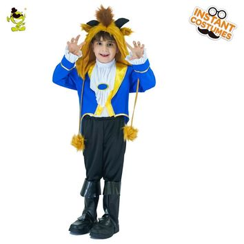 2018 Kids Beauty and the Beast Cosplay Boy Costumes Prince Adam party Cosplay Clothes Adam Child uniform halloween Party Clothes