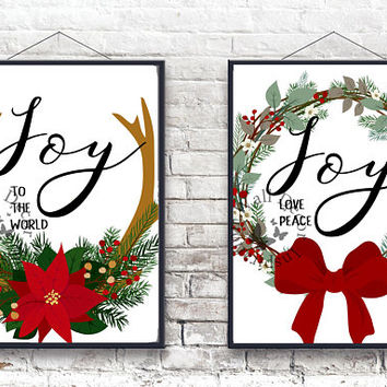 Joy to the world | Deer antler | Poinsettia wreath | Christmas decor | Quote | Art Print | Typography | Home Decor Print | Printable