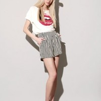 Ivory and black stripe shorts [Ayn3912] - $122 : Pixie Market, Fashion-Super-Market