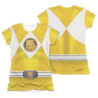 Power Rangers Juniors Sublimation Yellow Emblem Costume Tee Shirt