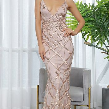 All Dressed Up Gold Sequin Geometric Pattern Sleeveless Spaghetti Straps V Neck Backless Feather Trumpet Maxi Dress