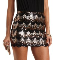 Scalloped Sequin Mini Skirt by Charlotte Russe - Black Combo