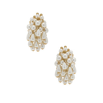 Lele Sadoughi Pearl Cluster Earrings in Pearl | FWRD