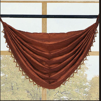 Sherry Crushed Satin Grommet Window Valance 3 Pack 36 x 35