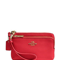 Coach Double Corner Zip Wristlet Wallet in Pebble Leather