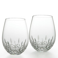 Two Lismore Nouveau Stemless Deep Red Wine Glasses - Waterford Crystal