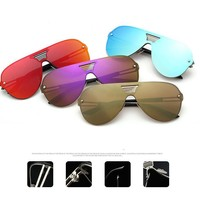 Shield  Rimless Alloy Frame Mirror Sunglasses Aviation