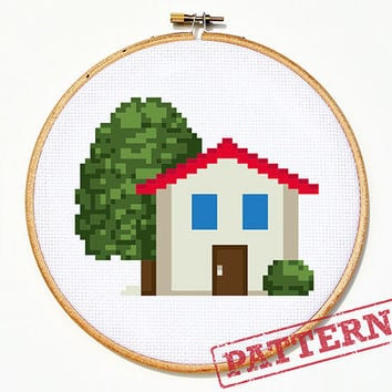 Emoji House Cross Stitch Pattern