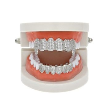 Fashion Gold Plated Teeth Grillz Hip Hop Top & Bottom Grills Dental Punk Halloween Vampire Teeth Caps