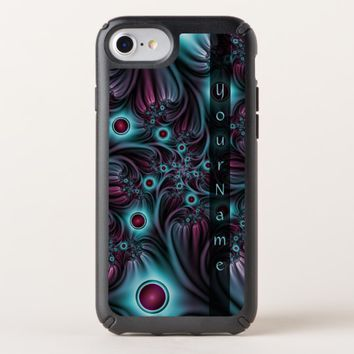 Into the Depth Blue Pink Abstract Fractal Art Name Speck iPhone Case