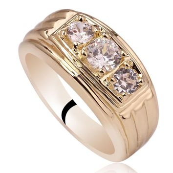 Men Jewelry Gold Color Sterling Silver Ring 925 3-stone CZ Anillo Hombre Size 10 to 13 R519G