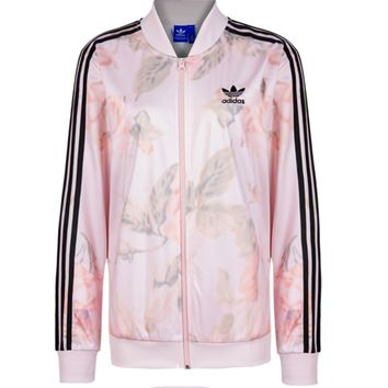 Fashion Printing Light pink Zipper Cardigan Jacket Coat Sportswear