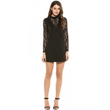 Women Stand Neck Sheer Floral Lace Long Sleeve Loose Shift Dress