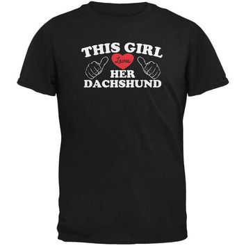 DCCKJY1 Valentines This Girl Loves Her Dachshund Black Adult T-Shirt