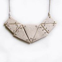 Bib Necklace Nip Tuck - Abstract Triangles Necklace in Off-White-Nude, Neutral Color Handmade Polymer Clay Necklace