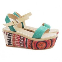 Suede PU Leather Flatforms in Color Block