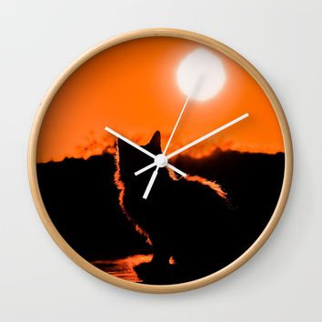 Cat and Sunset Wall Clock by digitaleffects