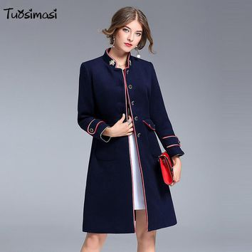 2017 bee embroidered coat autumn winter new slim  jacket woolen coat dark blue jacket Wool & Blends (LB064)