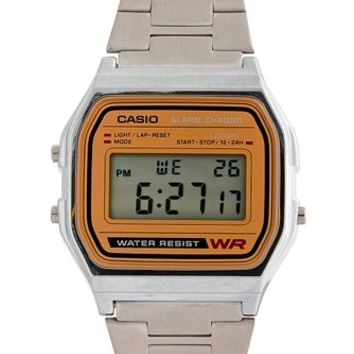 Casio A158WA-9 Casio Silver & Camel Digital Watch - Silver / Camel / One Size
