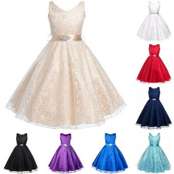 Well Girls Party Dress Children Wear 2016 Lace Flower Children Girls Elegant Wedding Ceremony Birthday Dresses Teen Prom Dresses [7981322311]
